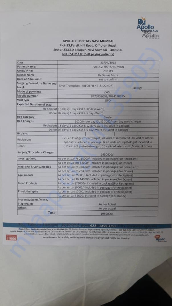 Medical Report Estimate for Surgery/Transplantation