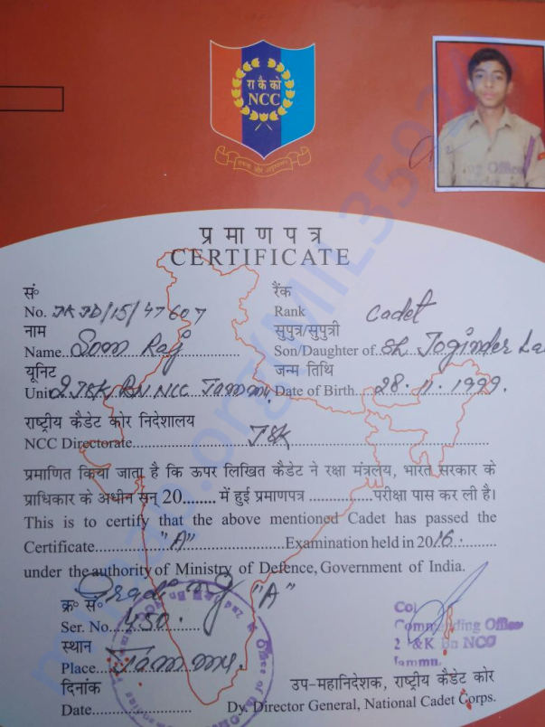 Som's NCC Certificate for proof of identification.