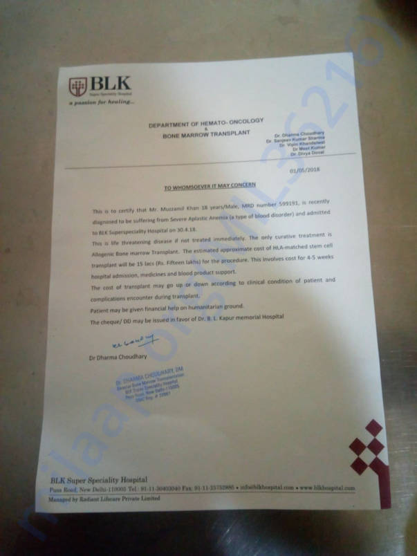 Letter from Hospital