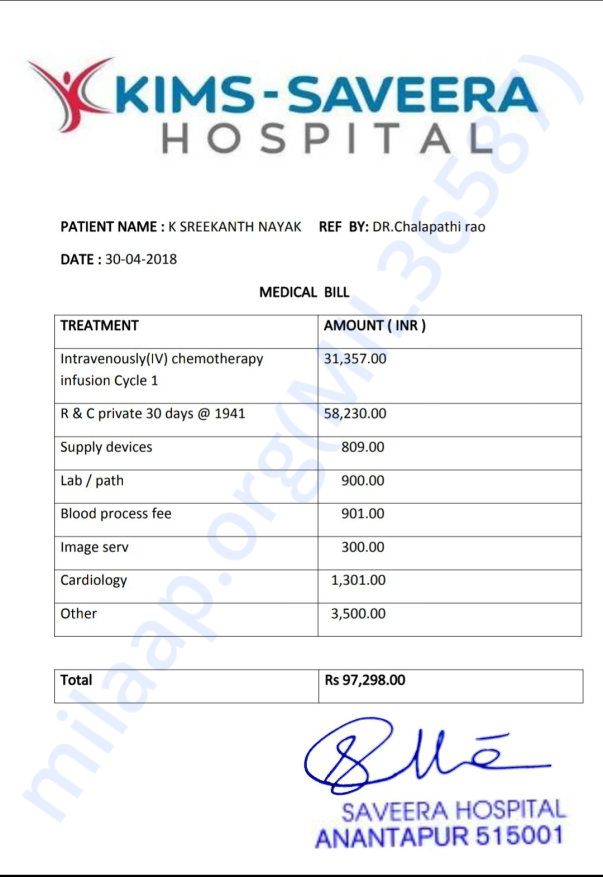 Medical bill for 1st cycle
