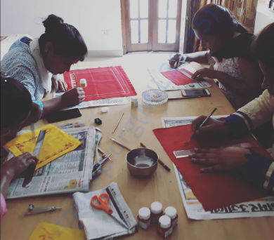 Girls from Project Prarambh improving their designs