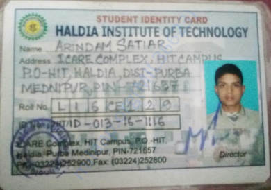 MY COLLEGE ID CARD OF HALDIA INSTITUTE OF TECHNOLOGY, (CIVIL)