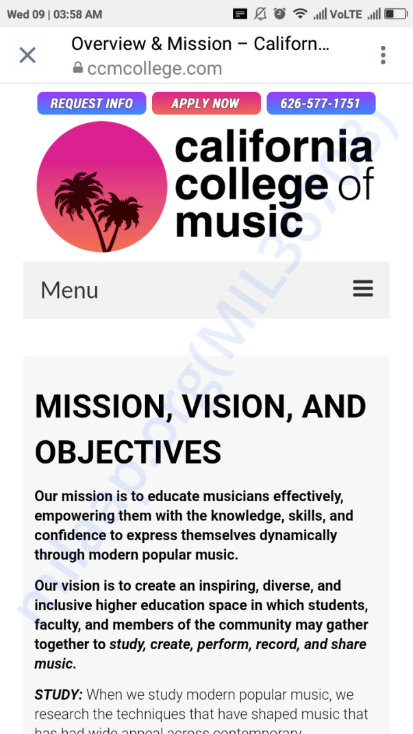 Ccmcollege.com an ss from the website