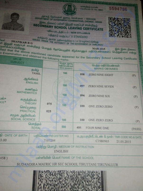 Shankar 10th Marksheet