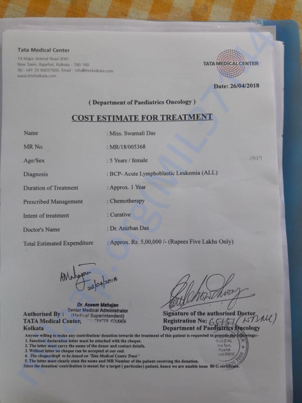 cost estimate for treatment