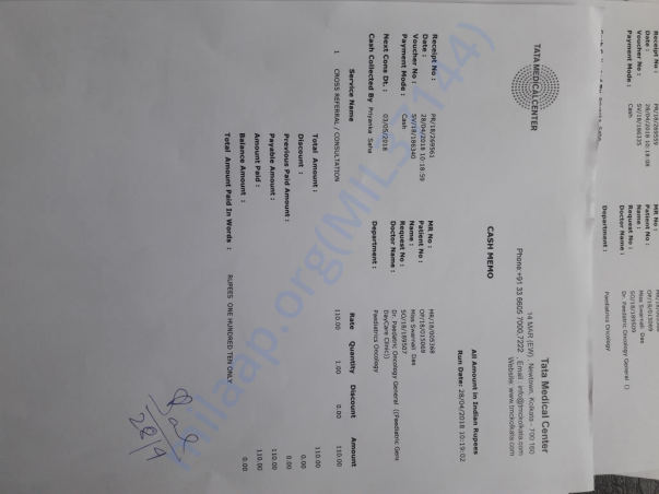 some documents form Tata Medical Centre Rajarhat