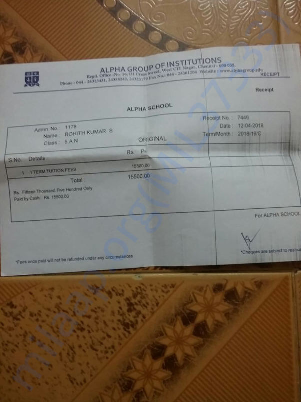Rohith one term fees slip