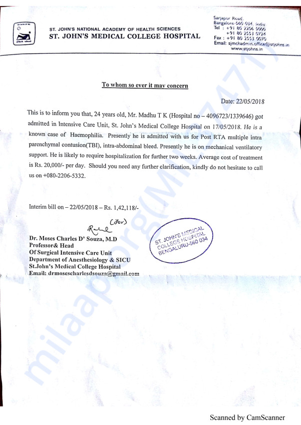 Letter  issued by St John's Medical College Hospital