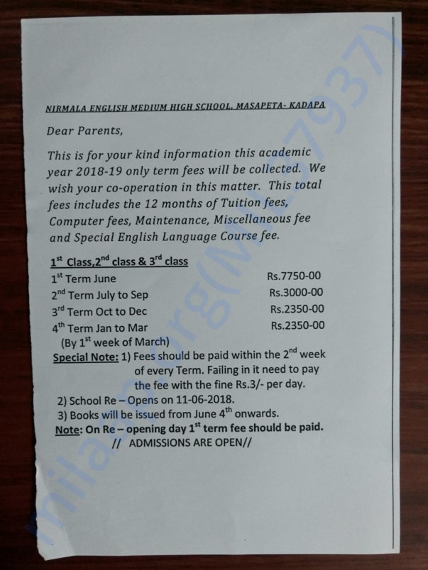 1st to 4th class Fees details