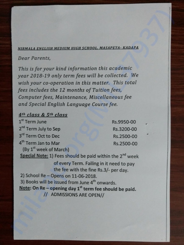 4th Class Fee Details