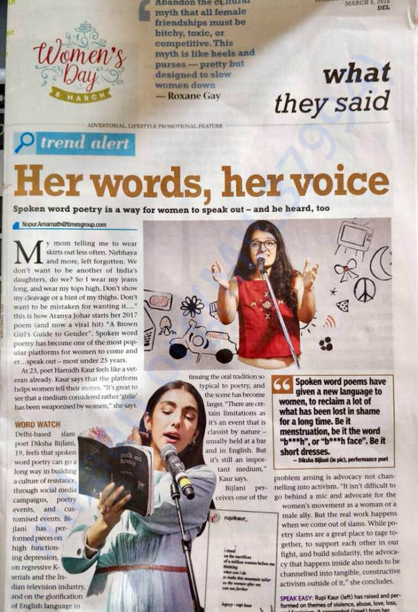 Achievements in Spoken Word Poetry (Featured in Times of India)