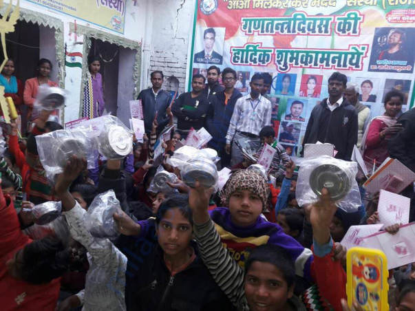 Tiffin distribution to children at academy