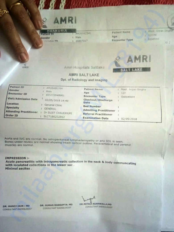 Medical Details and Discharge Report for last hospitalization