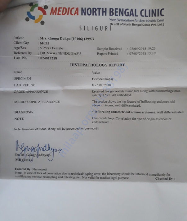 This is the biopsy report of my mother Ganga dukpa