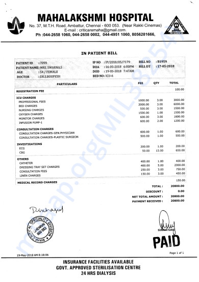 Discharge bill in Private hosiptal