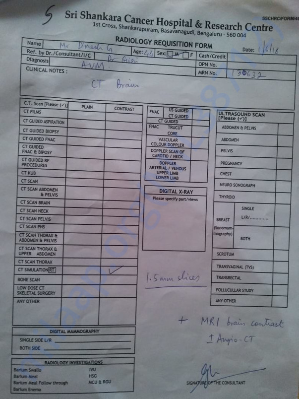 Radiology Requisition Form