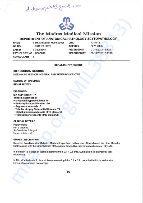 Biopsy Report from 2012