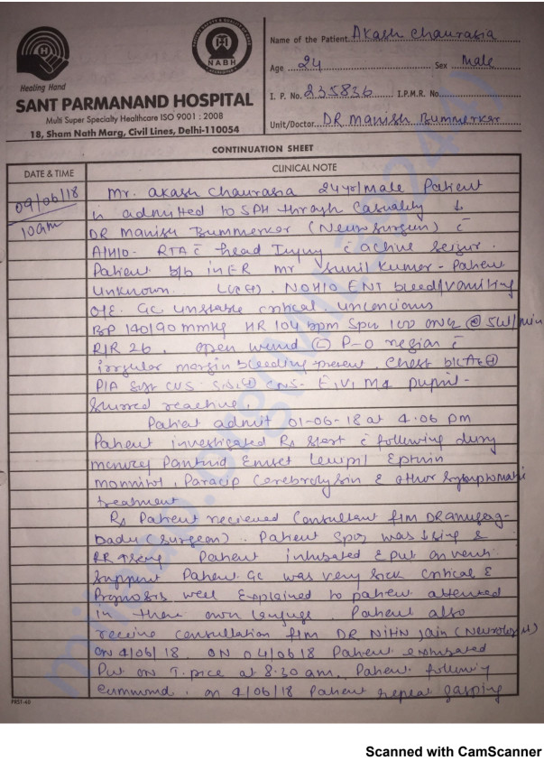 Akash case summary written by doctor in hospital
