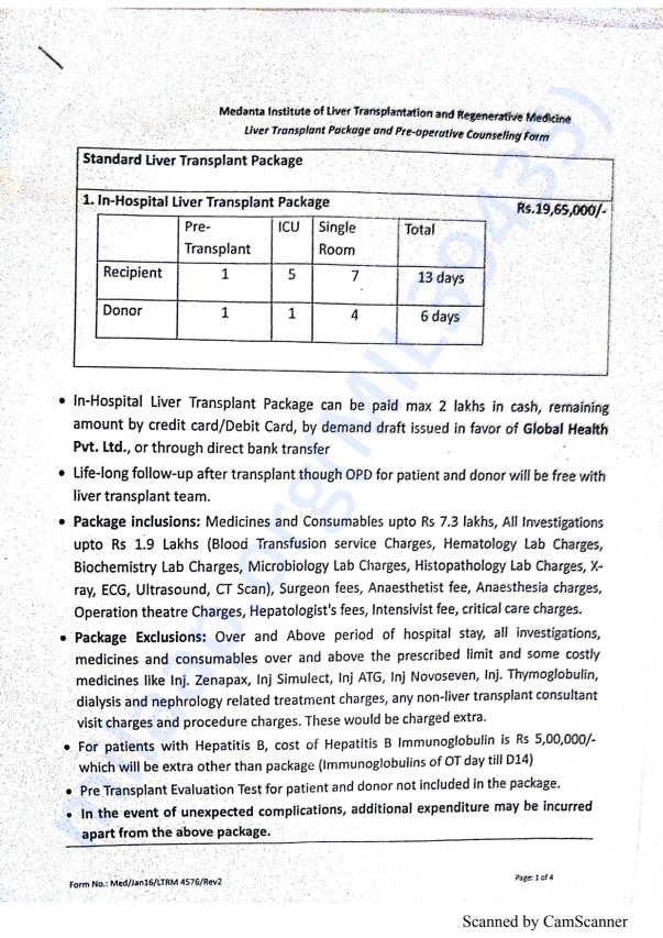 Liver Transplant Package and Counselling form