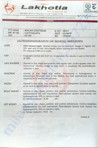 Ultra sonography report
