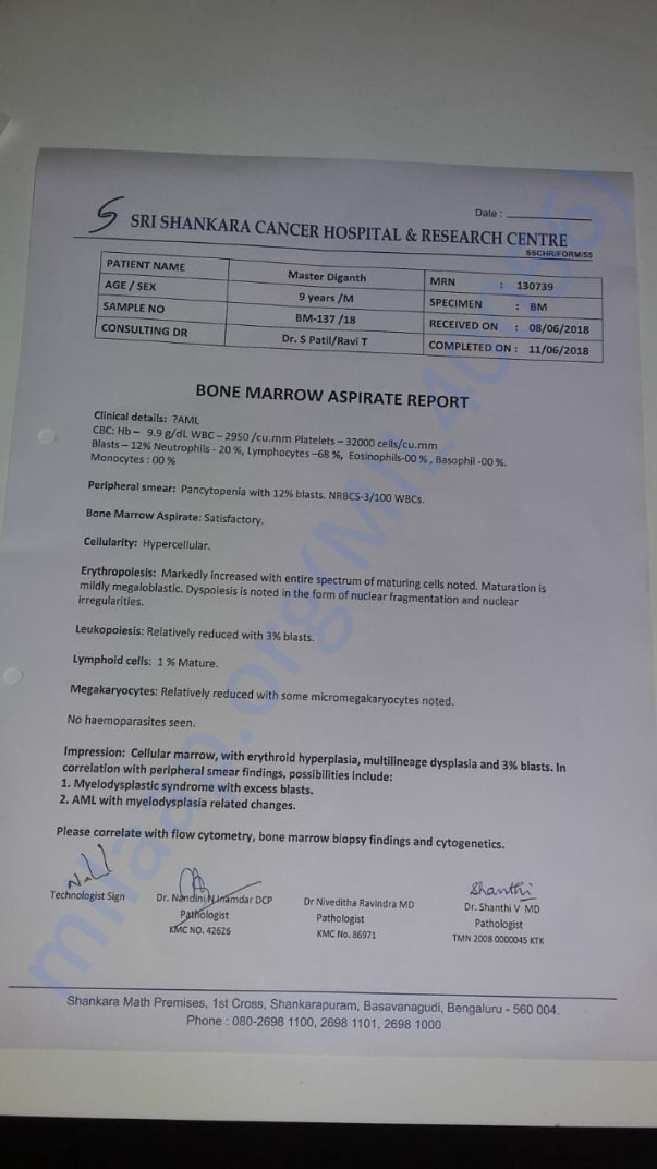 Bone Marrow Test Report of Master Diganth