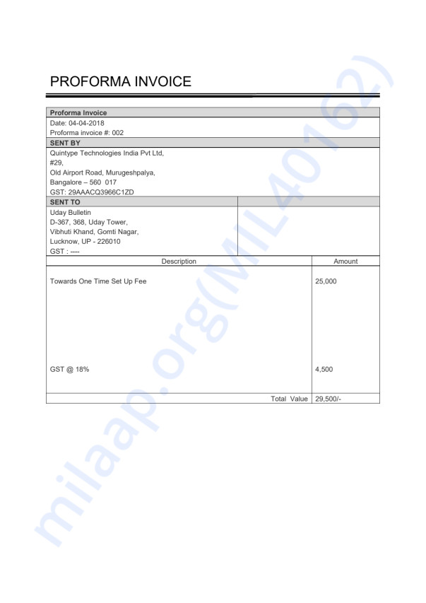 PROFORMA INVOICE Towards One Time Set Up Fee
