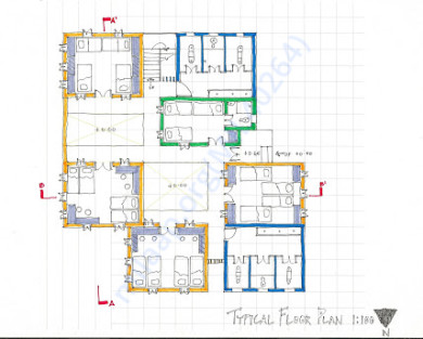 Blue print of the ground floor for home less elders