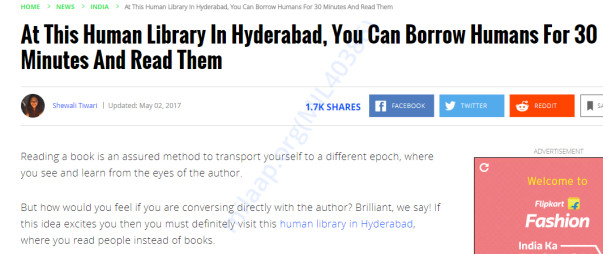 India Times on the Human Library Hyderabad