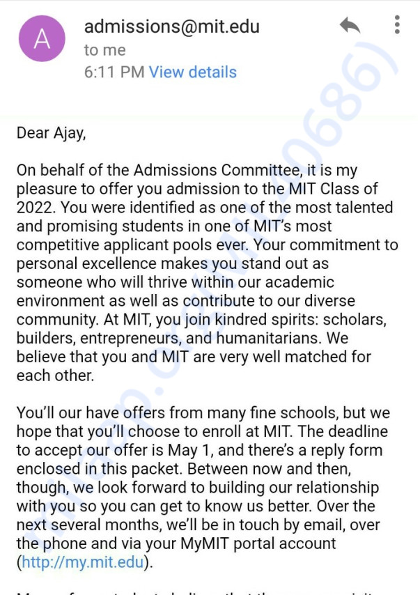 MIT official letter acceptance email