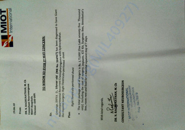 Cost Estimate and Diagnosis letter from the attending surgeon