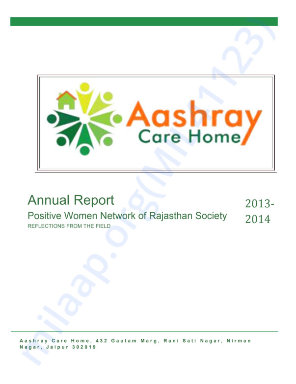 Annual Report of 2013-2014 Positive Women Network of Rajasthan Society