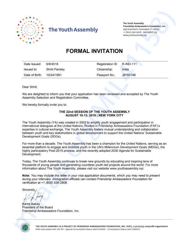 UN Youth Assembly Invitation Letter