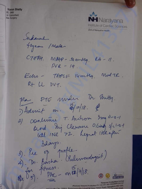 Doctor prescription for surgery - PTE