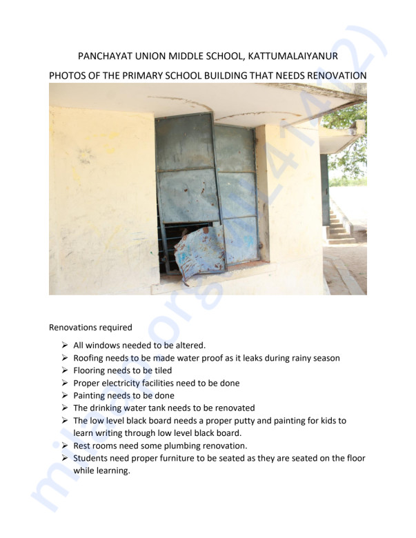 Photos of the Primary Building that needs renovation.