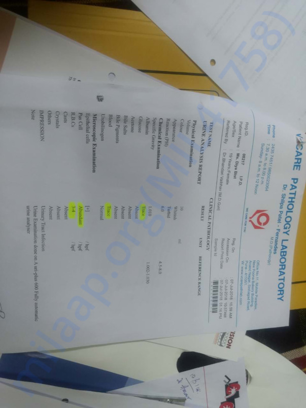 Diya's urine_test report