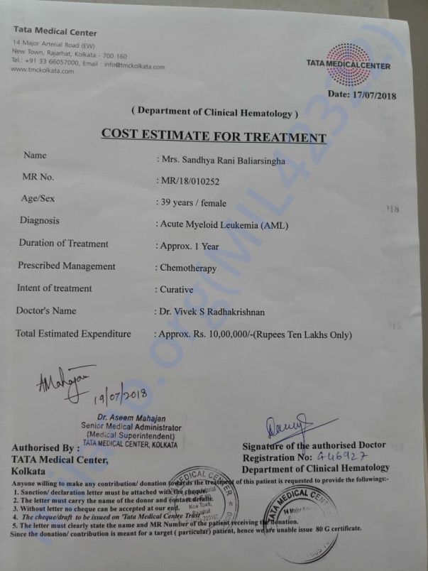 Sandhya's initial treatment cost estimate