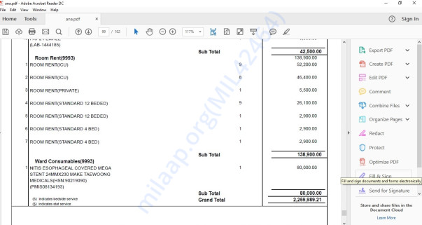 Snapshot of last page of Medical Bills. Medical bills run in 102 pages