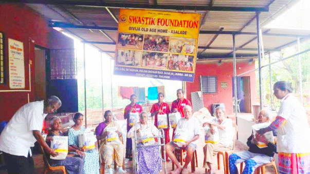 Diapers donated to old age home