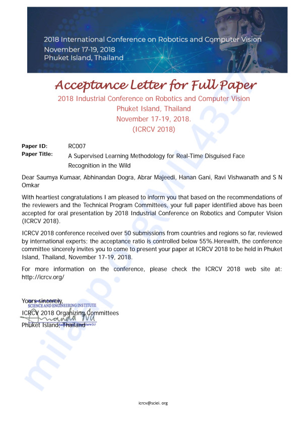 Conference Acceptance letter