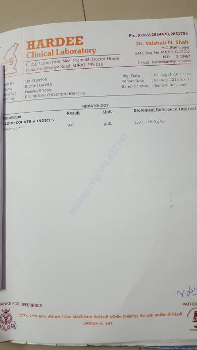 my today's blood report 07-08-2018