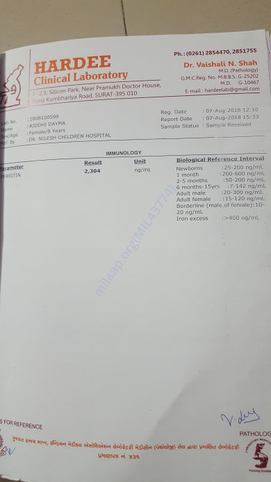 my FERRITIN (iron) report..  which is very high...
