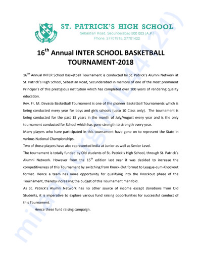 Support Letter for Basketball tournament 2018