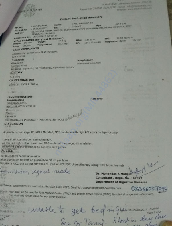 Admission order for chemotherapy