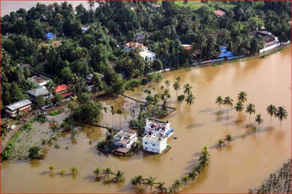 An aeriel view of the flooded locality of Aluva after heavy rains