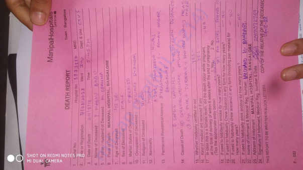 Death Report from Manipal Hospital