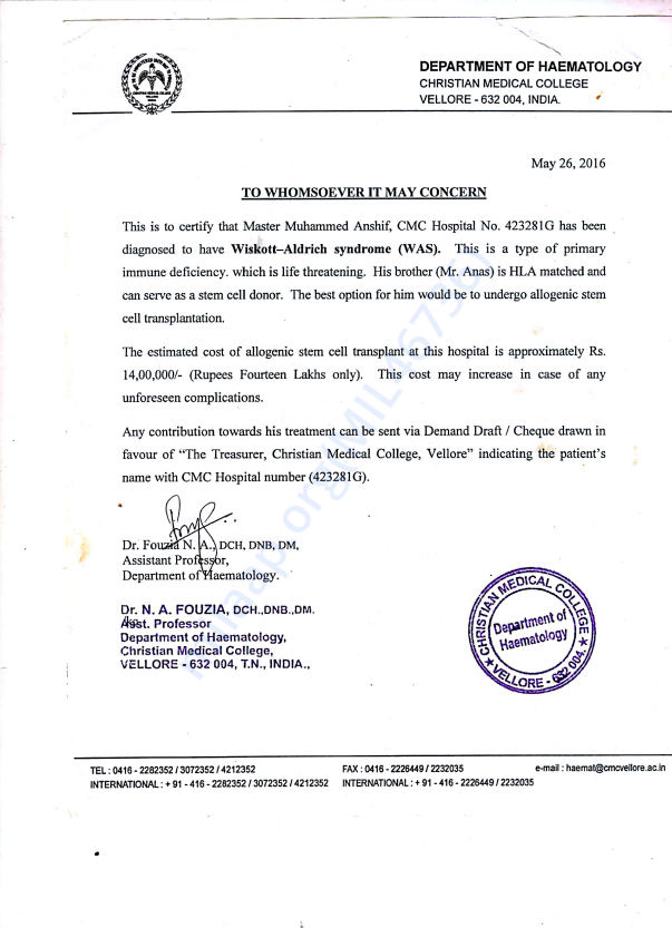 Medical Report of Christian Medical College - [C M C]