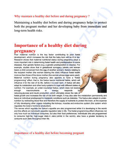 Why maintain a healthy diet before and during pregnancy