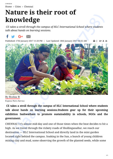 Indian Express report on HLC School