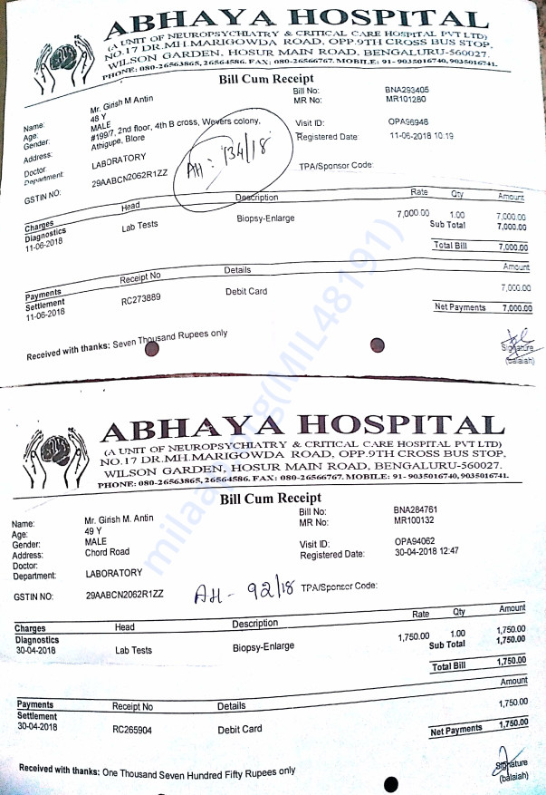 3rd time Abhaya invoices