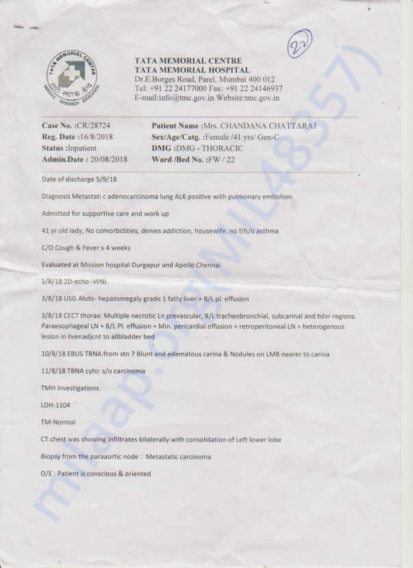 TATA MEMORIAL HOSPITAL DISCHARGE PAPERS 1ST PAGE